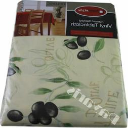 Flannel Backed Vinyl Tablecloth Waterproof Floral Olive Vari