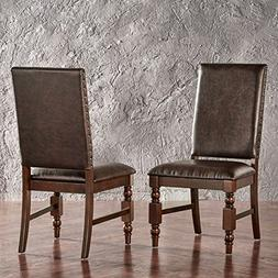 Flatiron Nailhead Upholstered Dining Chairs , Brown PU by Pr