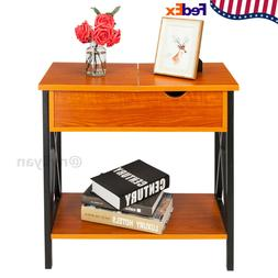 Flip Collection Top Table Cherry Metal Stand Wood End Tables