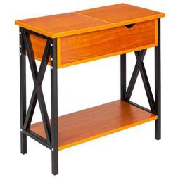 Flip Collection Top Table Cherry Metal Stand Wood End Table