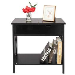 Flip Collection Top Table Metal Stand Wood End Side Tables D