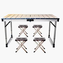 Folding Aluminum Table – 5pc. Portable and Height Adjustab
