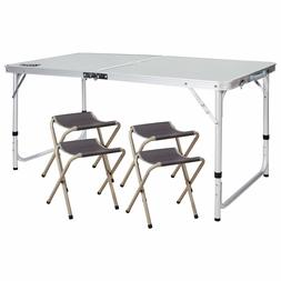 REDCAMP Aluminium Folding Camping Table with Chairs Adjustab