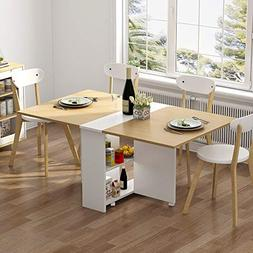 Tribesigns Folding Dining Table, 6 Wheels Movable Dinner Tab