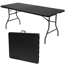 Goplus 6' Folding Table Portable Plastic Picnic Table with R