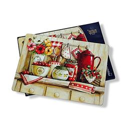 The French Country Kitchen Placemats, Set of 4, Cork backed