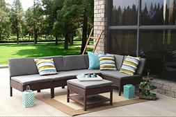 Baner Garden Outdoor Furniture Complete Patio 6 pieces PE Wi