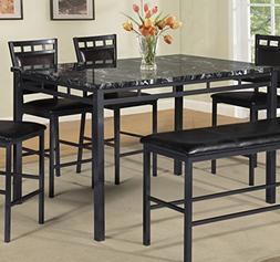 Best Quality Furniture D195T Dining Table Black Faux Marble