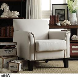 TRIBECCA HOME Furniture Uptown Modern Accent Chair White Lin