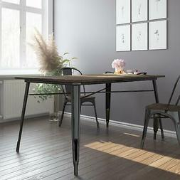 DHP Fusion Metal Rectangular Dining Table with Wood Table To