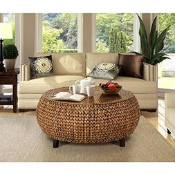 Gallerie Decor Bali Breeze Low Round Coffee Table - Gold Pat