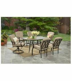 GARDEN DINING SET 7 Piece 2 Swivel Chairs Glass Table Outdoo