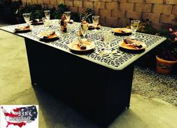 Unique Dining Table Gas Fire Pit Patio Propane Bar Metal Out