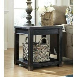 Gavelston Distressed Black Square End Table with Shelf by As