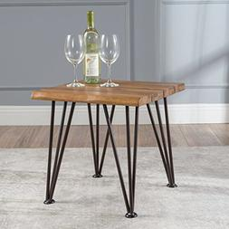 Geania Acacia Wood Industrial Side Table by Christopher Knig