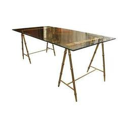 Glass & Gold Iron Faux Bamboo Dining Table/Desk