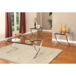Kings Brand Furniture Glass Top Coffee Table & 2 End Tables