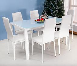 Merax 7PC Glass Top Dining Set 6 Person Dining Table and Cha