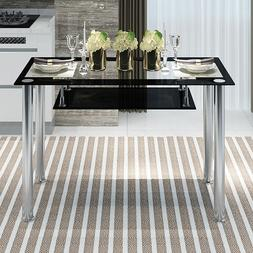 Glass Dining Table  Kitchen Dinette Metal Leg Home Decoratio