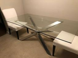 Z Gallerie glass dining table with polished stainless base 7