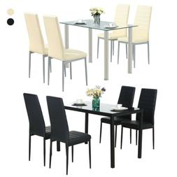 Glass Metal 5 Pieces Dining Table Furniture Sets 4 Leather C