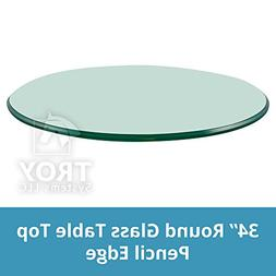 """Round Glass Table Top Clear Tempered 3/8"""" Thick Glass With P"""