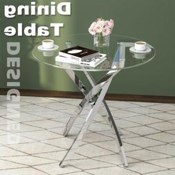 Glass Top Dining Table Modern Round Desk with Metal Frame Di