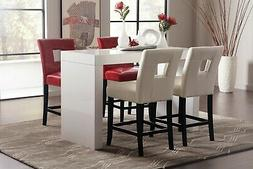 GLOSSY WHITE COUNTER HEIGHT DINING TABLE RED WHITE CUTOUT CH