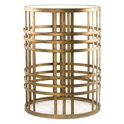 Gold Side Table | Antique Metal End Table with Glass Top Inc