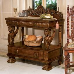 Gothic Hand-carved Solid hardwood Winged Lion Buffet Console