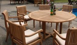 "7 Pc Grade-A Teak Wood Dining Set - 60"" Round Table And 6 Gi"