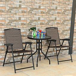 Grand patio 3 Pcs Folding Bistro Set Patio Outside Dining Ta