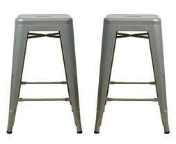 "Gray 24"" Metal Stool  - Industrial Tolix Style - Ready to Us"