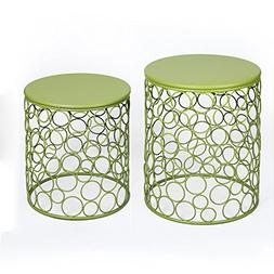 Joveco Green Round Iron End Table, Side Table. Bubble Patter
