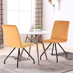 GreenForest Dining Chairs Velvet Cusion Wood Transfer Metal