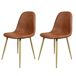 GreenForest Dining Side Chairs Washable Pu Cushion Seat Meta