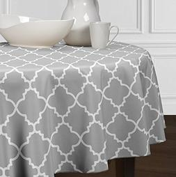 Grey and White Round Trellis Tablecloths Dining Room Kitchen