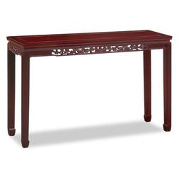 Hand Crafted 48in Flower and Bird Motif Rosewood Console Tab