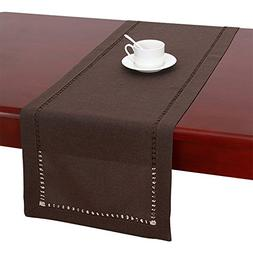Handmade Hemstitched Polyester Rectangle Table Runners,Dark