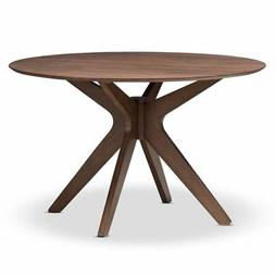 Hawthorne Collection Round Dining Table in Walnut Brown