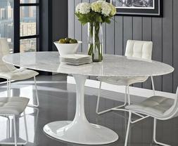 "HIGH-END Tulip Shaped Oval Dining Table 78"" Faux Marble or F"