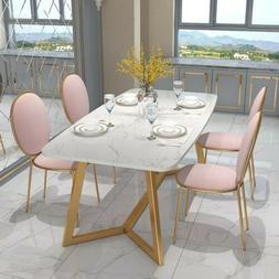 Homary 180cm Rectangular Dining Table White Faux Marble Tabl