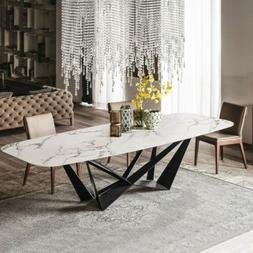 """Homary 79"""" Rectangle White Faux Marble Top Dining Table Two"""