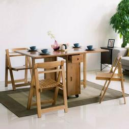 """Homary Solid Wood Folding Dining Table Set 58"""" 5-Piece Dinin"""