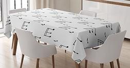 Home Decor Tablecloth by Ambesonne, Musical Notes Themed Mel