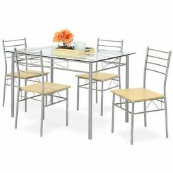 Best Choice Products Home 5-Piece Dining Table Set w/Glass T