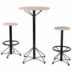 - HOMY CASA Set Of 3 Wooden 1Dining Table 2 Chairs Patio Cof