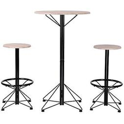 Homy Dining Sets Casa Bar Table And Chairs Of 3 Wooden Round