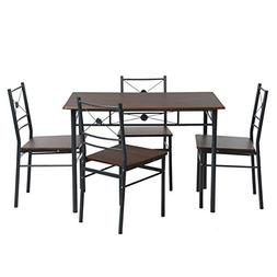 Homycasa Set of 4 Dining Table & Chair Sets, Deep Brown