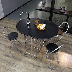 Homycasa Folding Steel Frame Dining Table Set for 4 with Whe